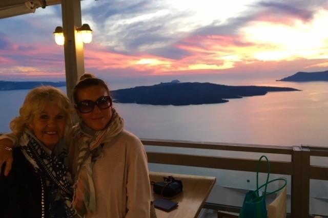 Amanda B and Yoga Partner in Santarini