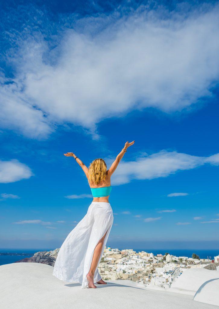 Woman at Santorini Retreat