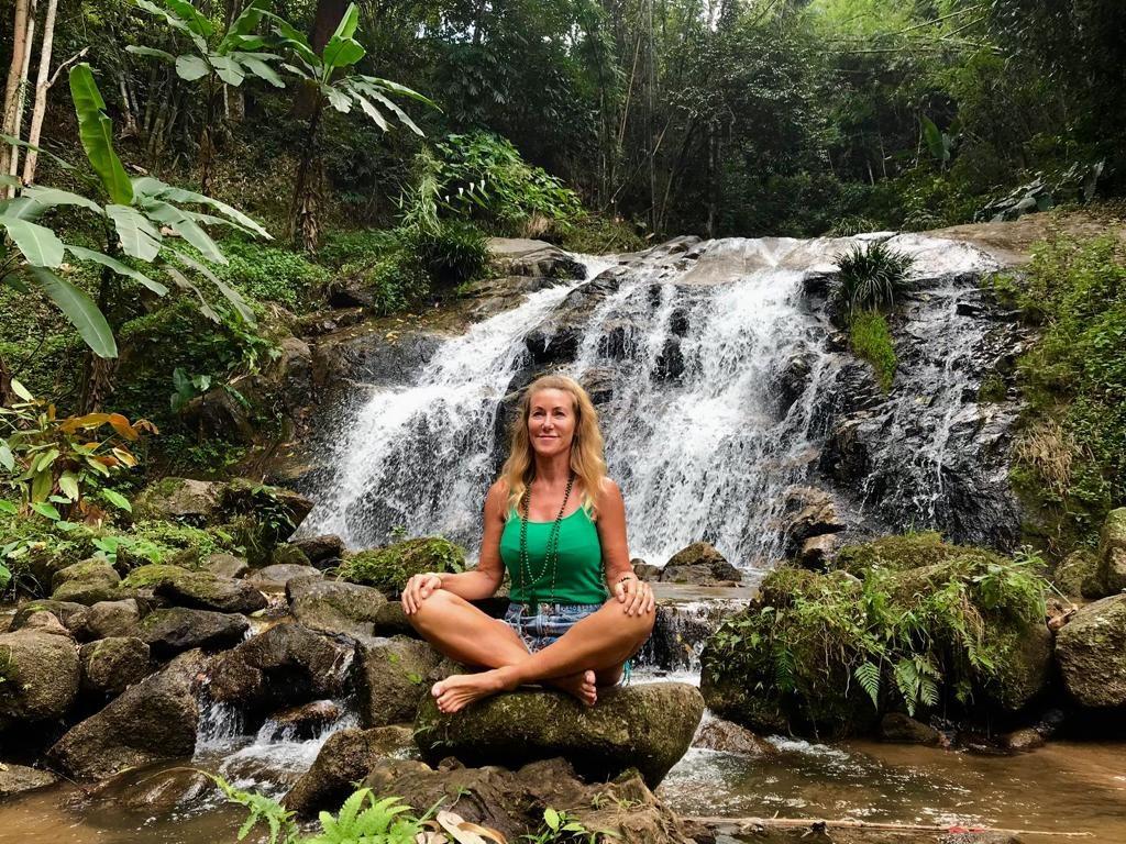 Amanda at the Waterfall